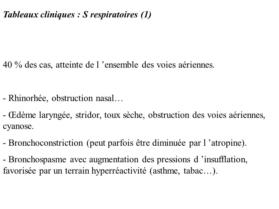 Tableaux cliniques : S respiratoires (1)