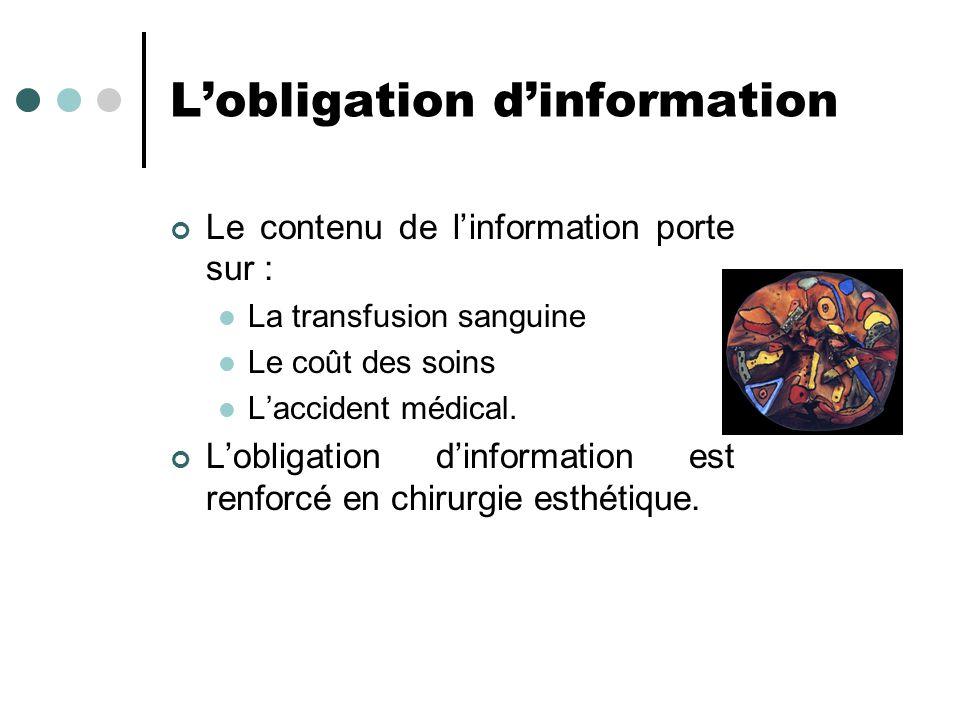 L'obligation d'information