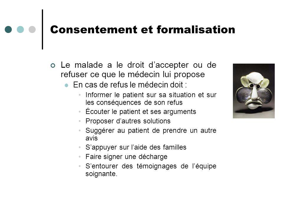 Consentement et formalisation