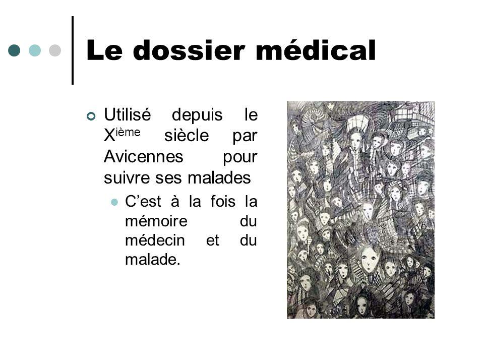 Le dossier médical Utilisé depuis le Xième siècle par Avicennes pour suivre ses malades.