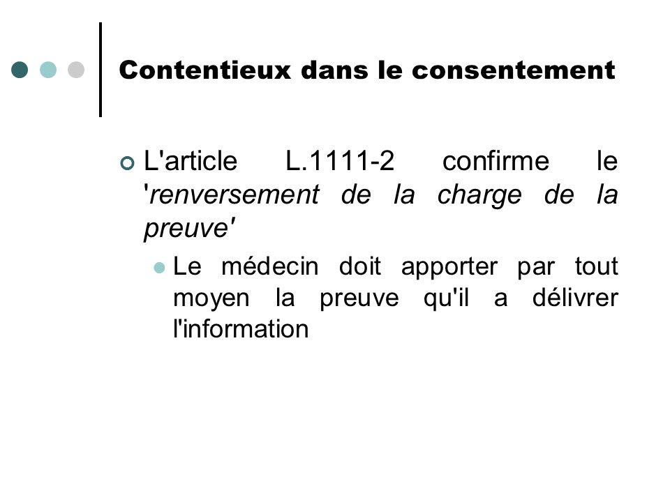 Contentieux dans le consentement