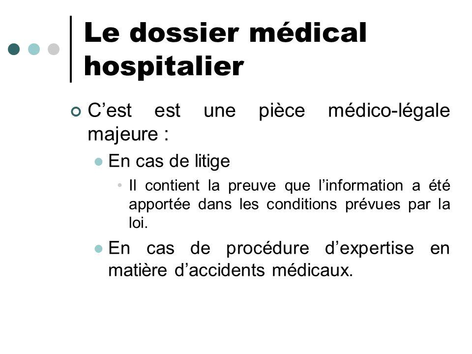 Le dossier médical hospitalier