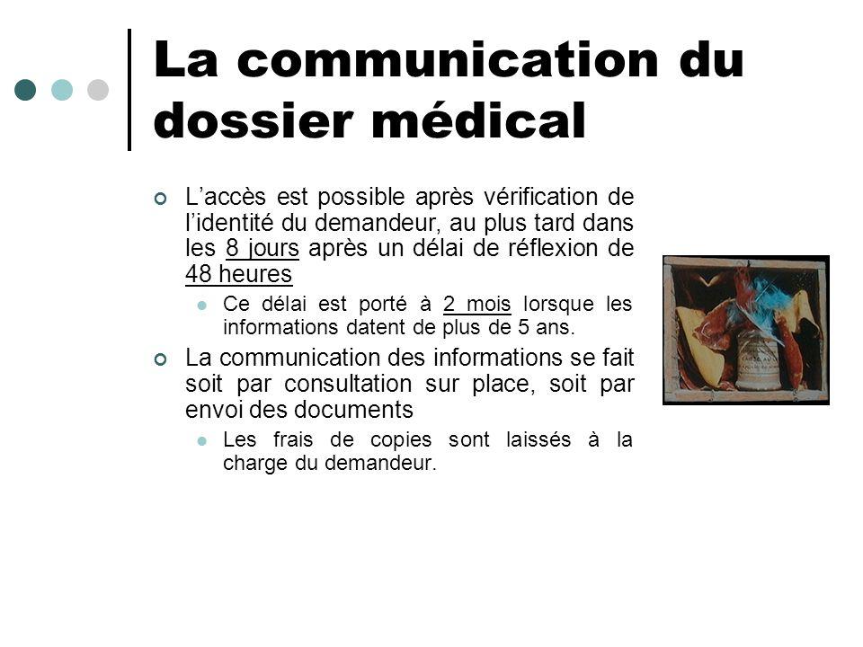 La communication du dossier médical
