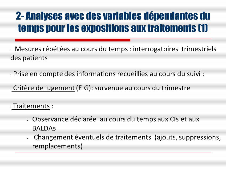 2- Analyses avec des variables dépendantes du temps pour les expositions aux traitements (1)
