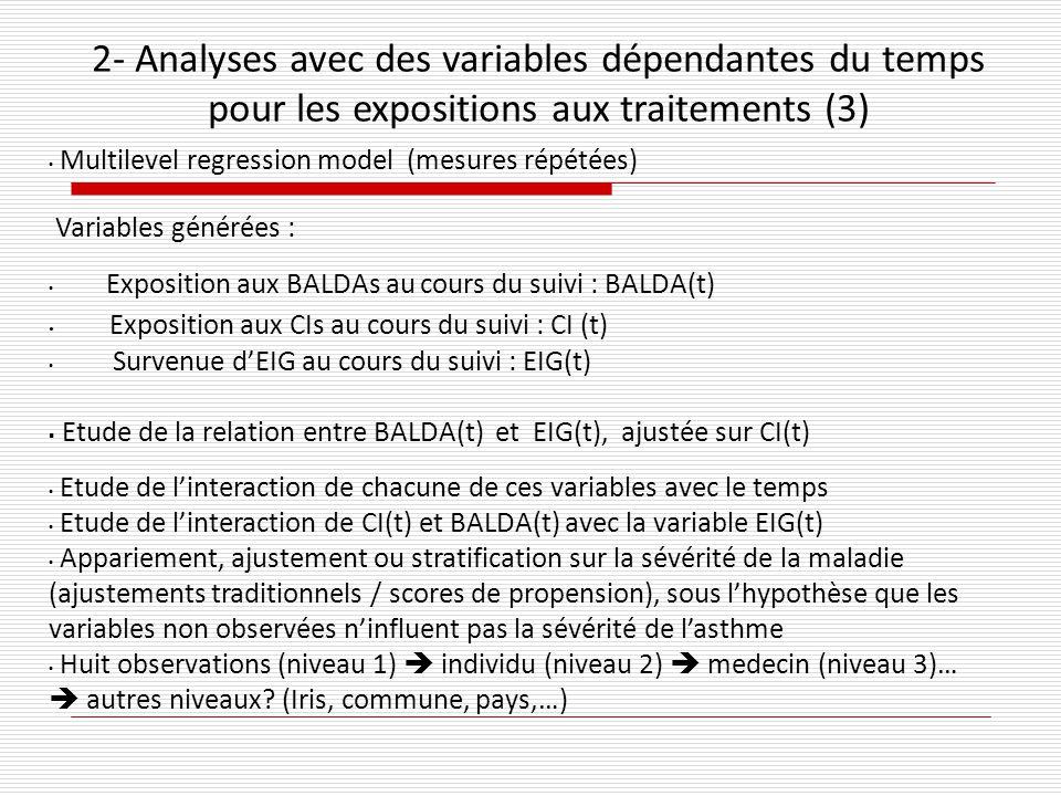 2- Analyses avec des variables dépendantes du temps pour les expositions aux traitements (3)