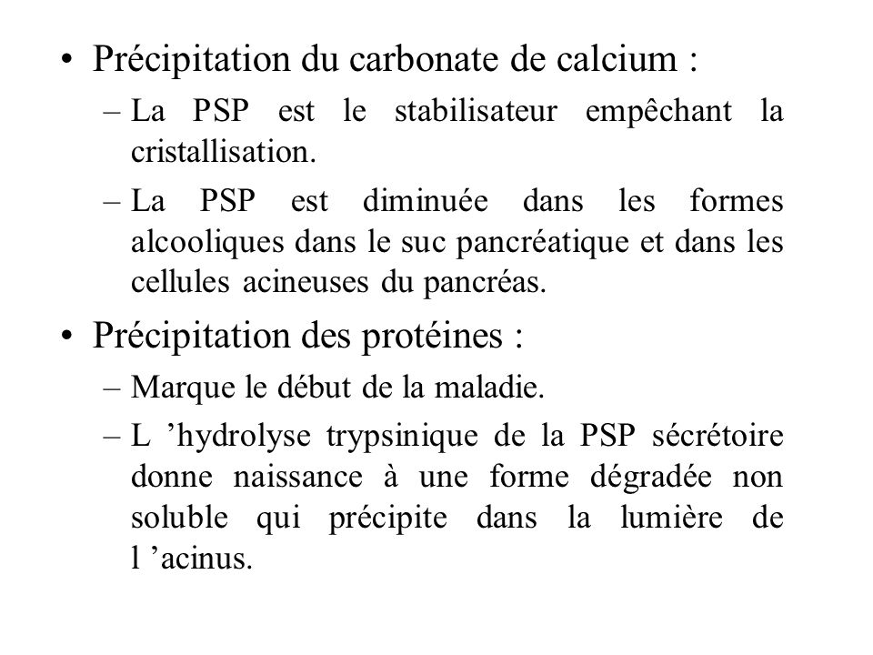 Précipitation du carbonate de calcium :