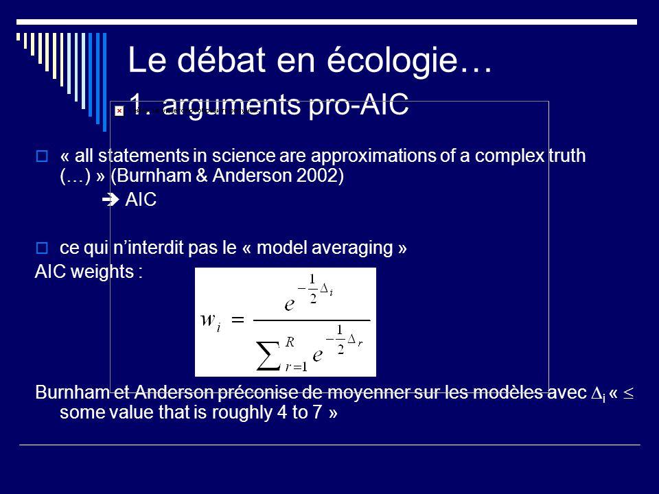 Le débat en écologie… 1. arguments pro-AIC