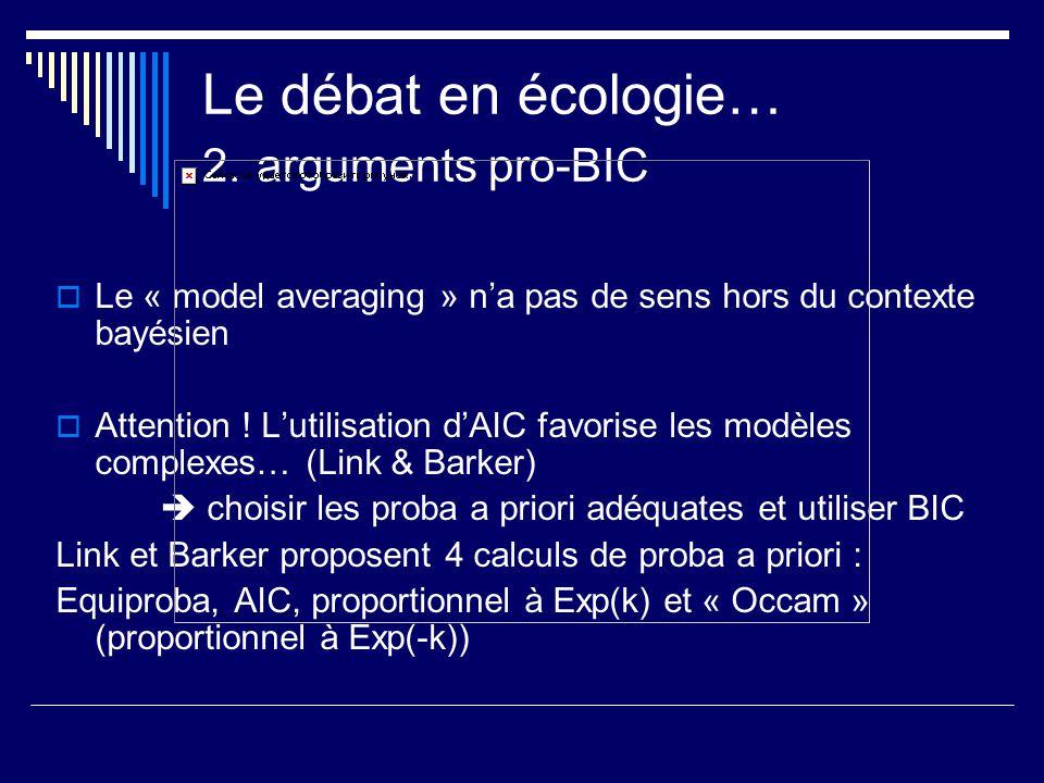 Le débat en écologie… 2. arguments pro-BIC