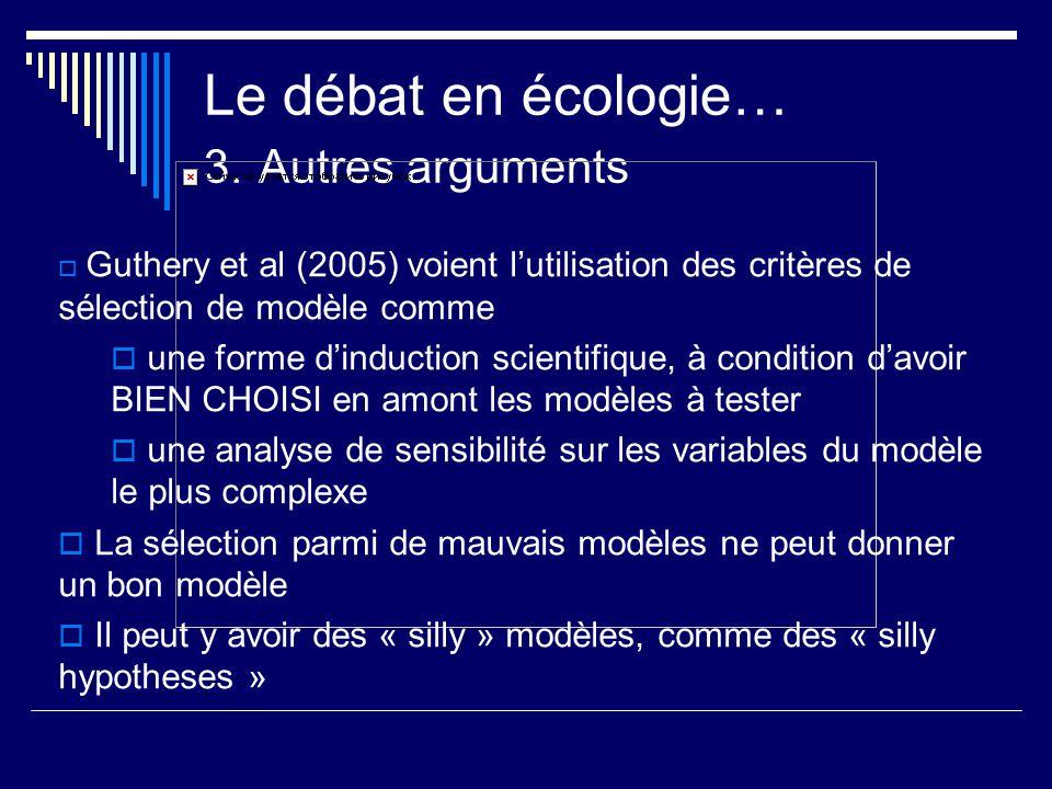 Le débat en écologie… 3. Autres arguments