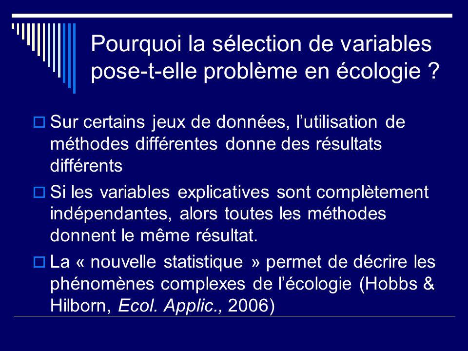 Pourquoi la sélection de variables pose-t-elle problème en écologie
