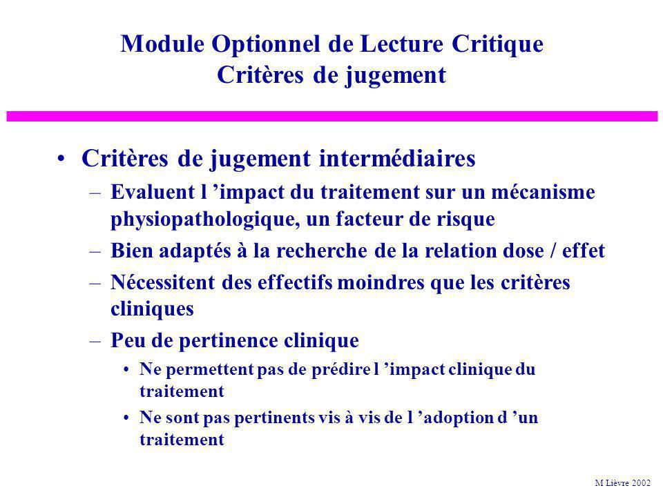 Module Optionnel de Lecture Critique Critères de jugement