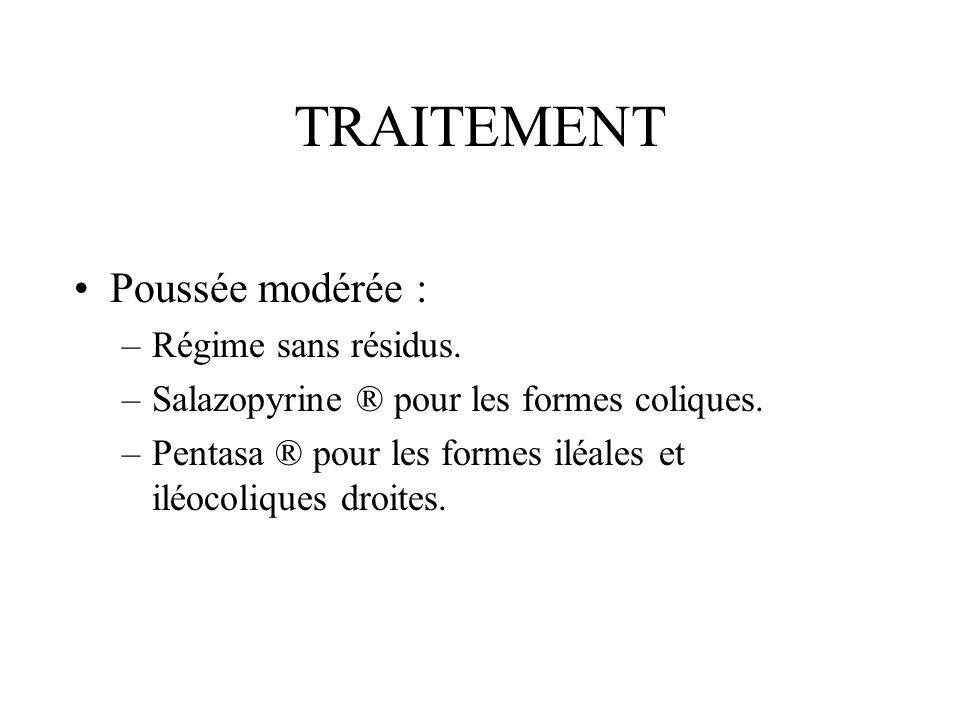 TRAITEMENT Poussée modérée : Régime sans résidus.