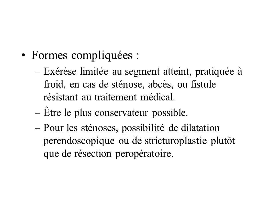 Formes compliquées : Exérèse limitée au segment atteint, pratiquée à froid, en cas de sténose, abcès, ou fistule résistant au traitement médical.