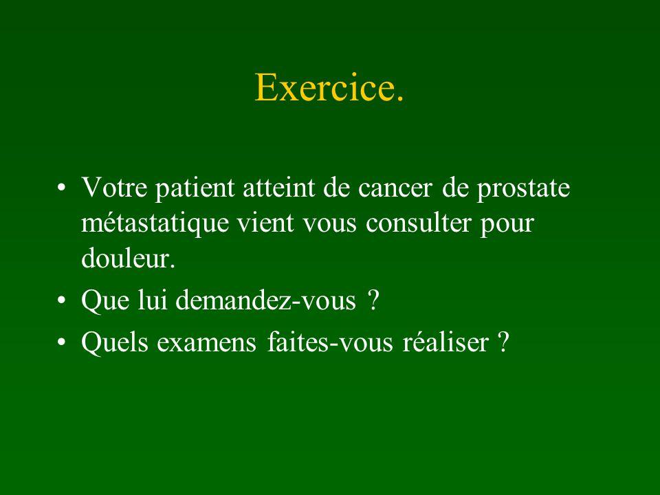 Exercice. Votre patient atteint de cancer de prostate métastatique vient vous consulter pour douleur.