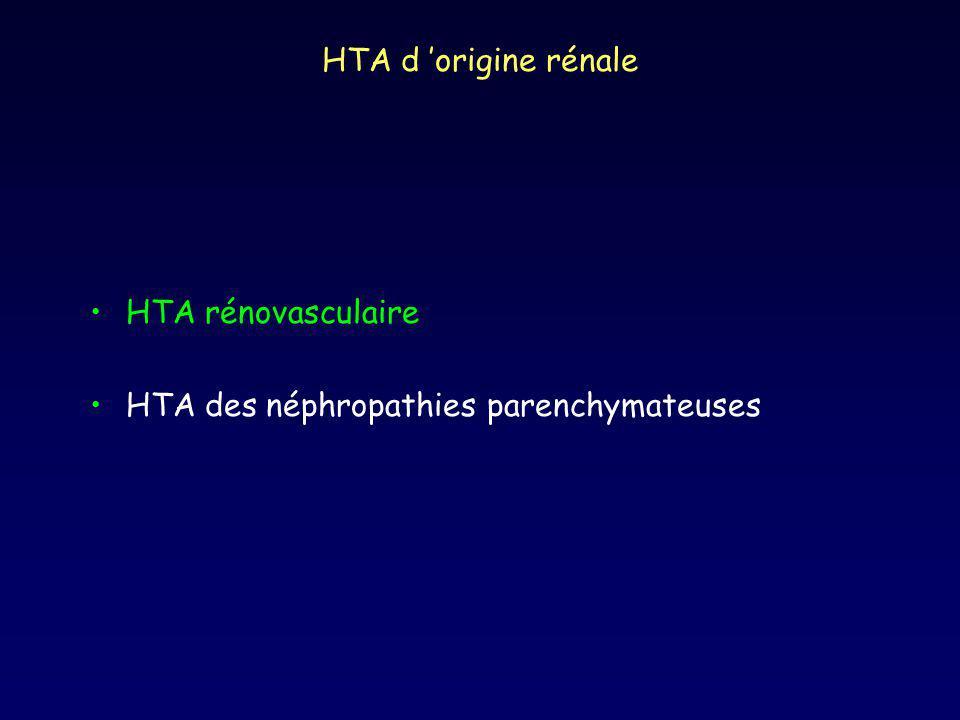 HTA d 'origine rénale HTA rénovasculaire HTA des néphropathies parenchymateuses
