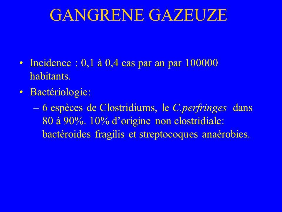 GANGRENE GAZEUZE Incidence : 0,1 à 0,4 cas par an par 100000 habitants. Bactériologie: