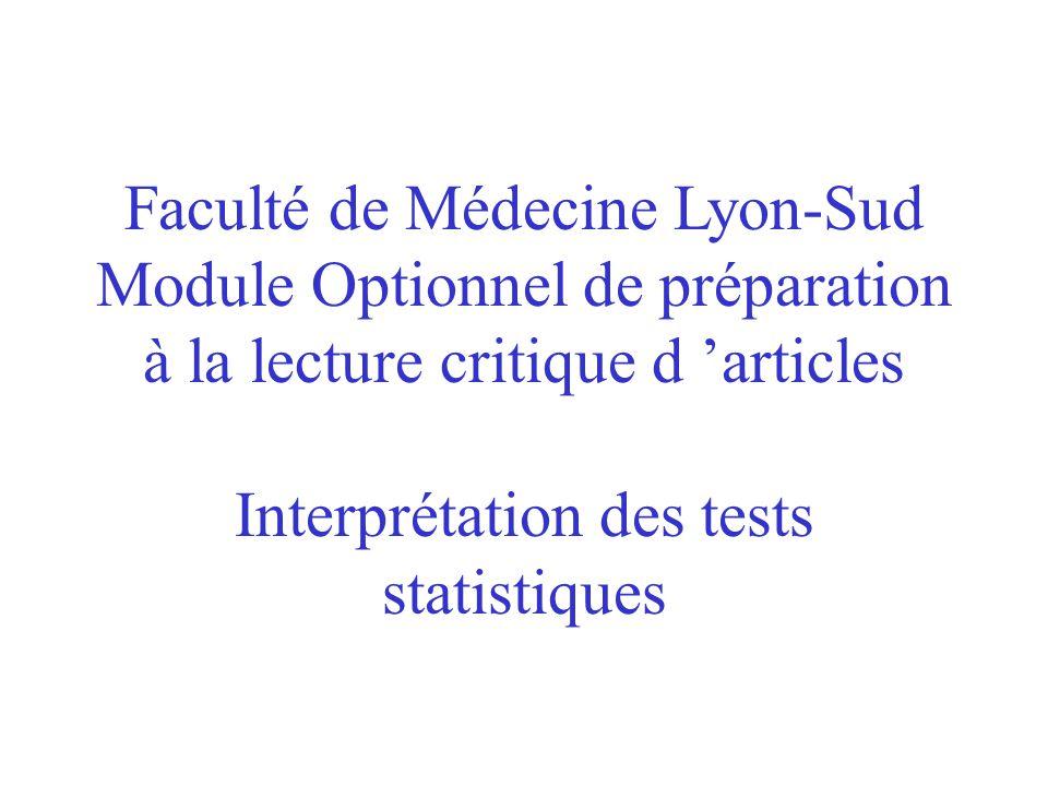 Faculté de Médecine Lyon-Sud Module Optionnel de préparation à la lecture critique d 'articles Interprétation des tests statistiques