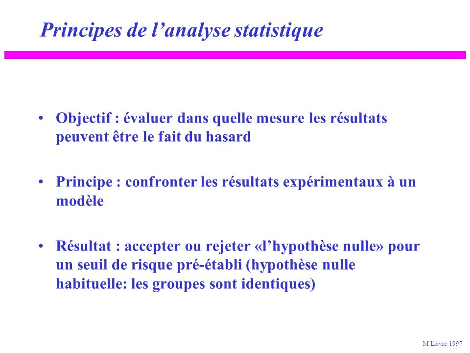 Principes de l'analyse statistique