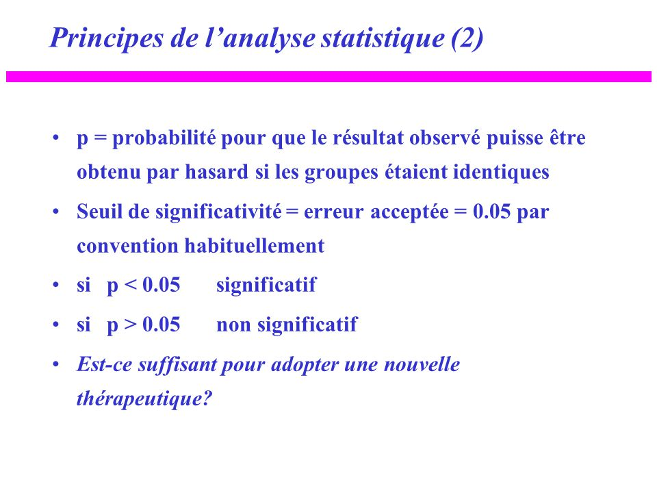 Principes de l'analyse statistique (2)