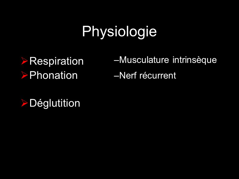 Physiologie Respiration Phonation Déglutition Musculature intrinsèque