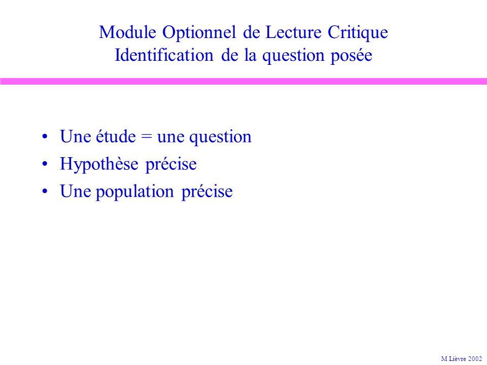 Une étude = une question Hypothèse précise Une population précise