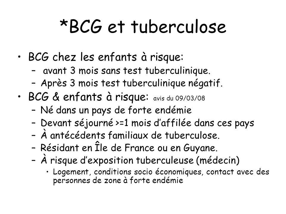 *BCG et tuberculose BCG chez les enfants à risque: