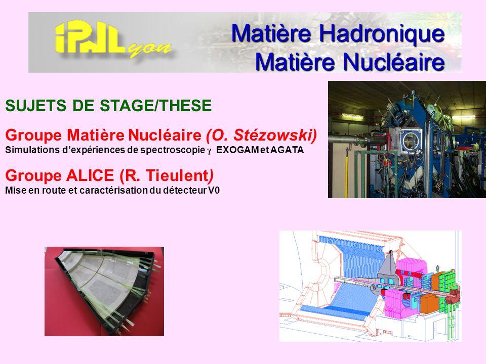 Matière Hadronique Matière Nucléaire