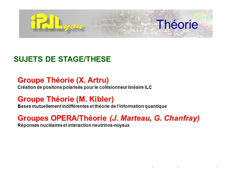 Théorie SUJETS DE STAGE/THESE