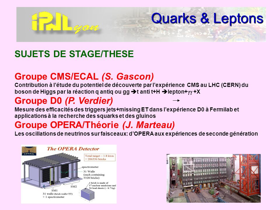 Quarks & Leptons SUJETS DE STAGE/THESE Groupe CMS/ECAL (S. Gascon)