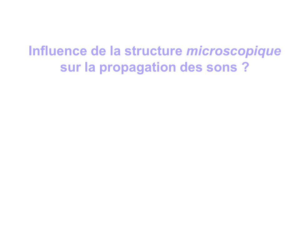 Influence de la structure microscopique sur la propagation des sons