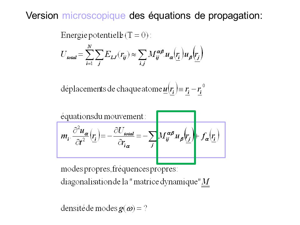 Version microscopique des équations de propagation: