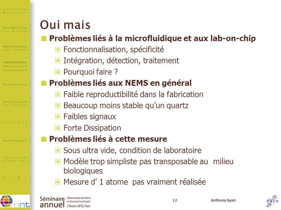Oui mais Problèmes liés à la microfluidique et aux lab-on-chip