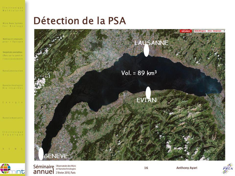 Détection de la PSA LAUSANNE Vol. = 89 km3 EVIAN GENEVE 16