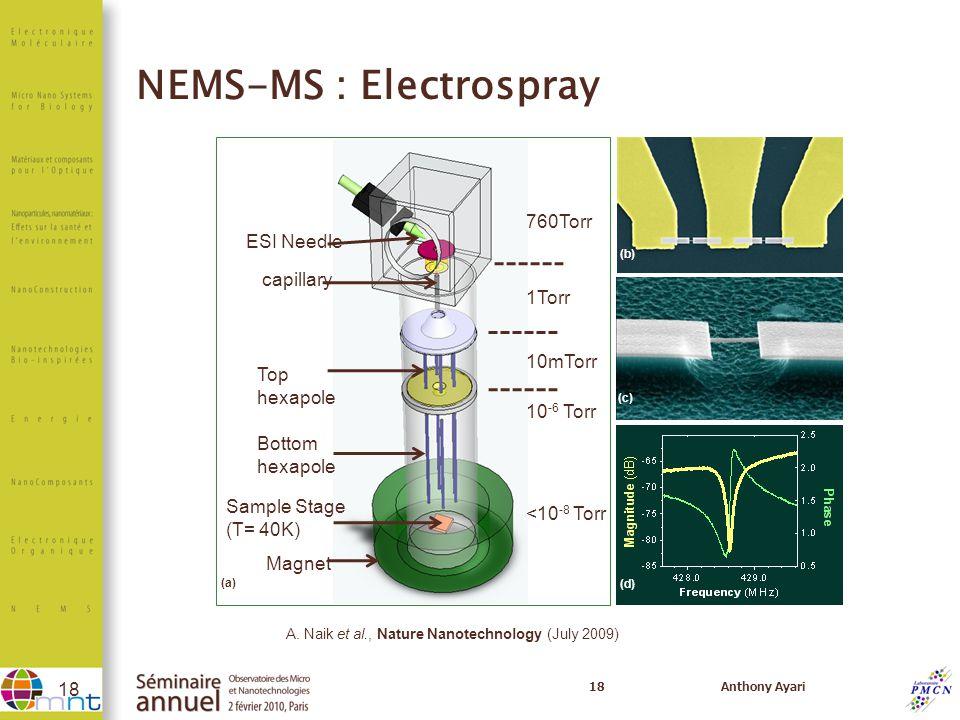 NEMS-MS : Electrospray