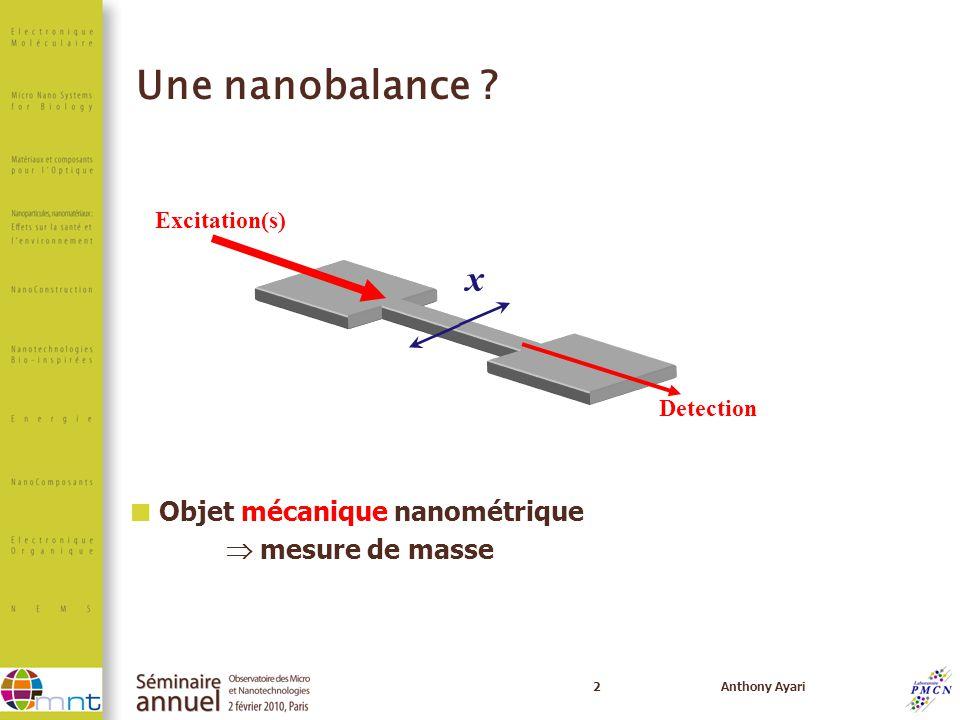 Une nanobalance x Objet mécanique nanométrique  mesure de masse