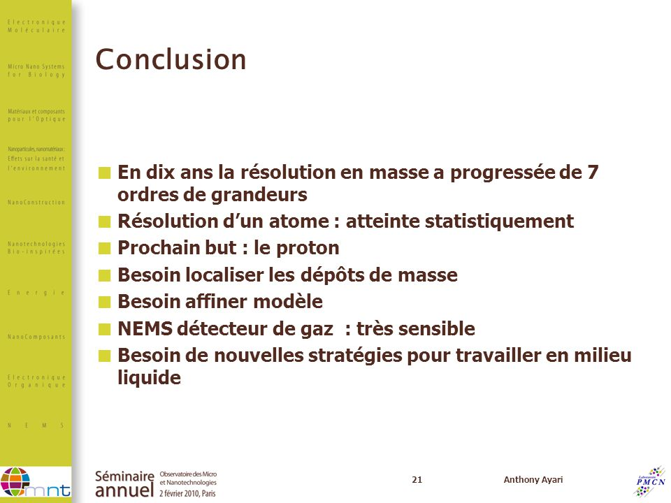 Conclusion En dix ans la résolution en masse a progressée de 7 ordres de grandeurs. Résolution d'un atome : atteinte statistiquement.