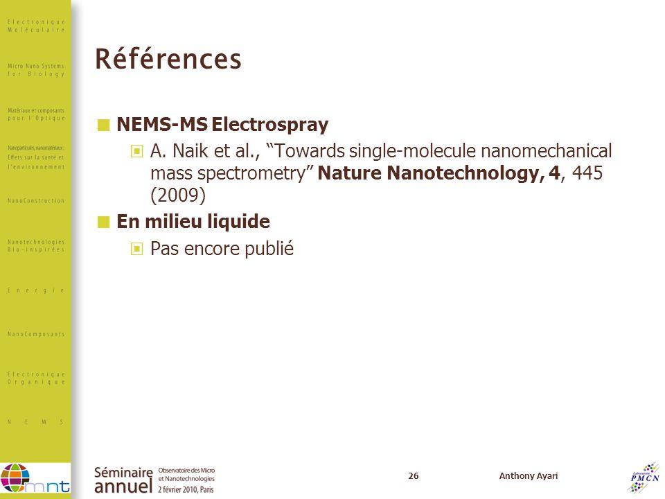 Références NEMS-MS Electrospray