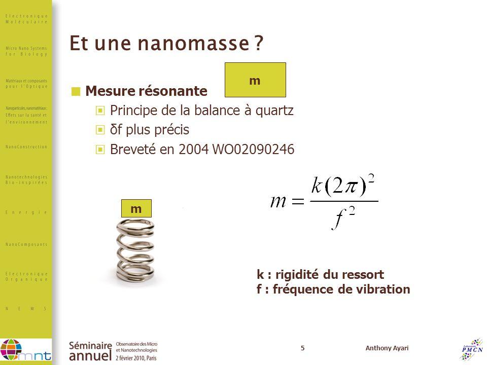 Et une nanomasse Mesure résonante Principe de la balance à quartz