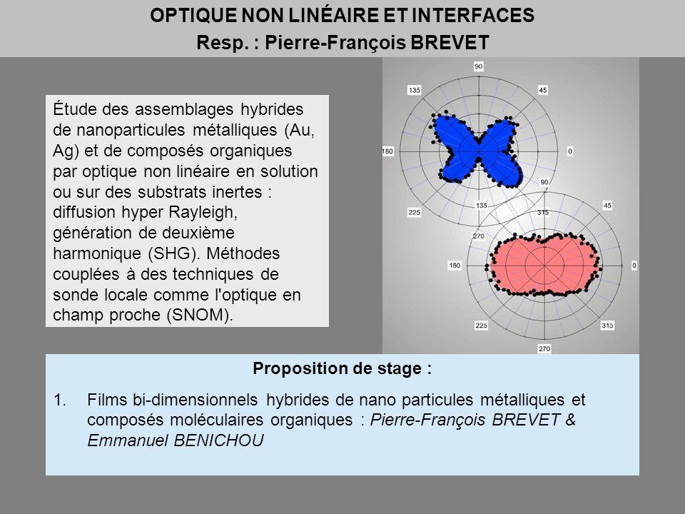OPTIQUE NON LINÉAIRE ET INTERFACES Resp. : Pierre-François BREVET