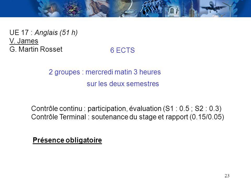 UE 17 : Anglais (51 h) V. James. G. Martin Rosset. 6 ECTS. 2 groupes : mercredi matin 3 heures. sur les deux semestres.