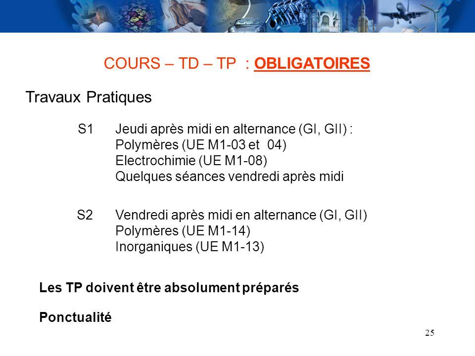 COURS – TD – TP : OBLIGATOIRES