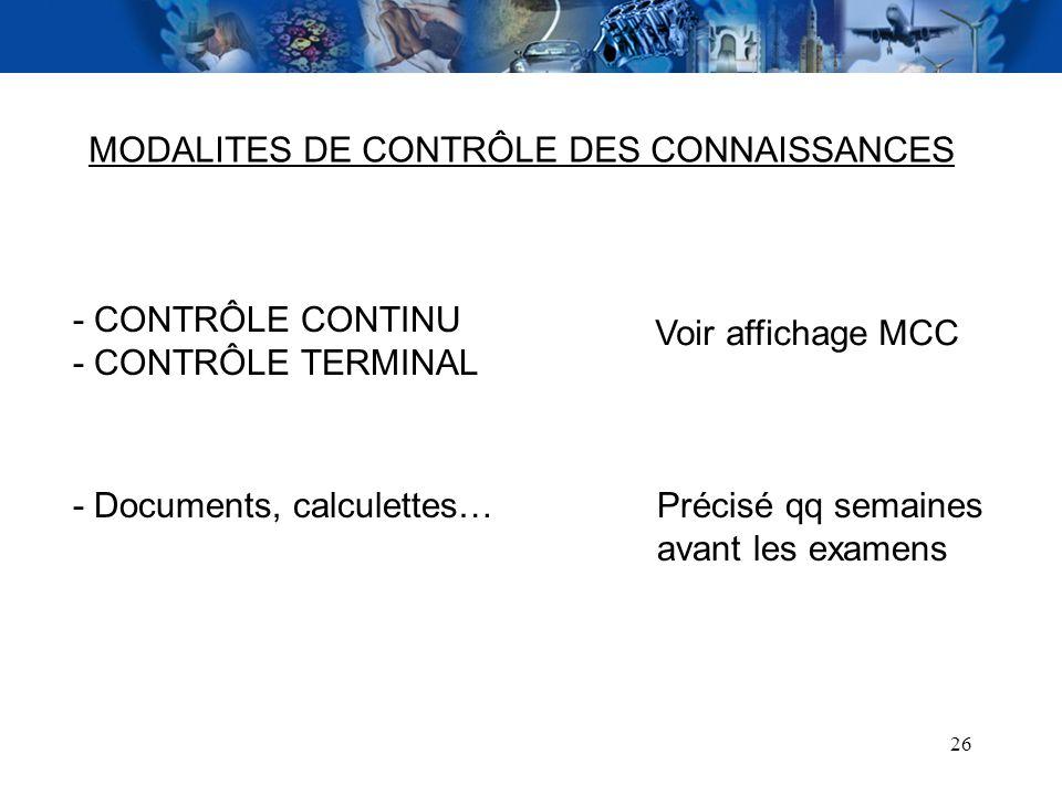 MODALITES DE CONTRÔLE DES CONNAISSANCES