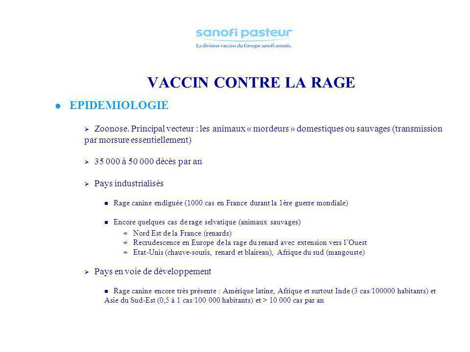 VACCIN CONTRE LA RAGE EPIDEMIOLOGIE