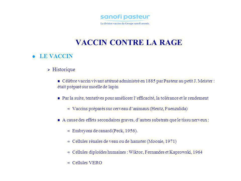 VACCIN CONTRE LA RAGE LE VACCIN Historique