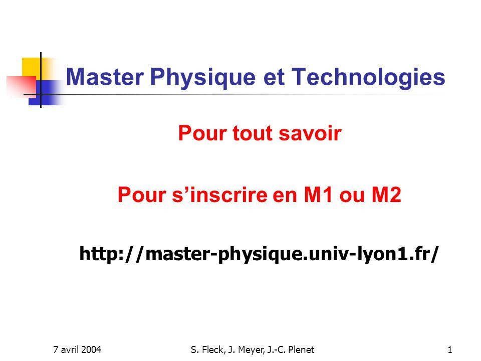 Master Physique et Technologies