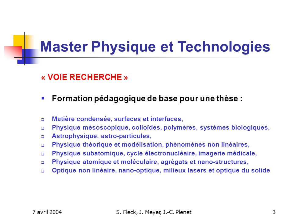 S. Fleck, J. Meyer, J.-C. Plenet