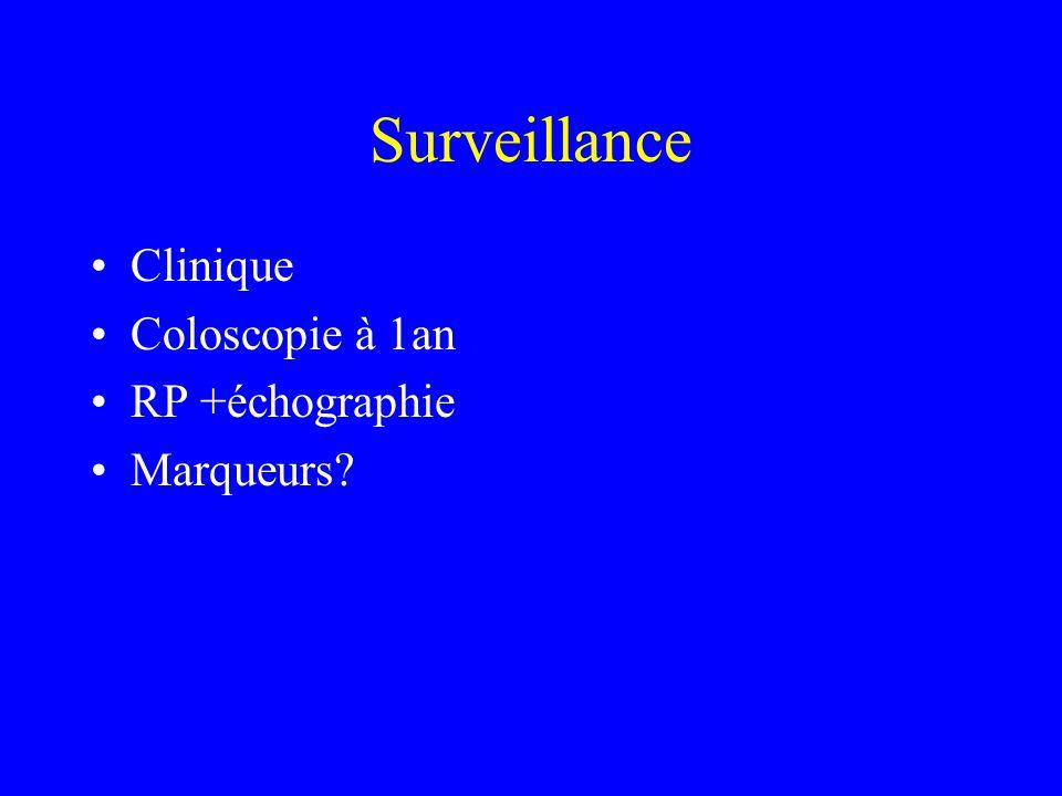 Surveillance Clinique Coloscopie à 1an RP +échographie Marqueurs