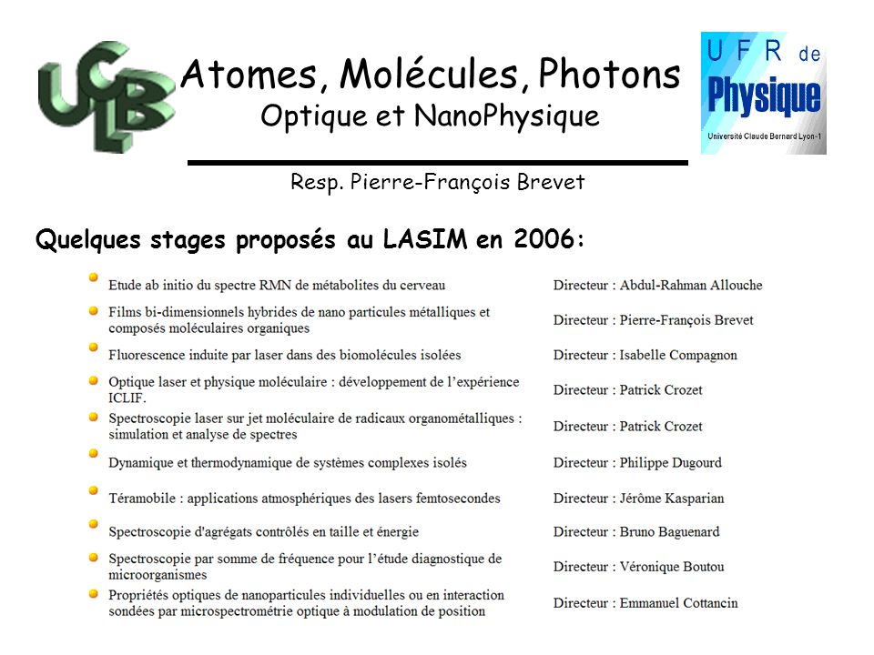 Atomes, Molécules, Photons
