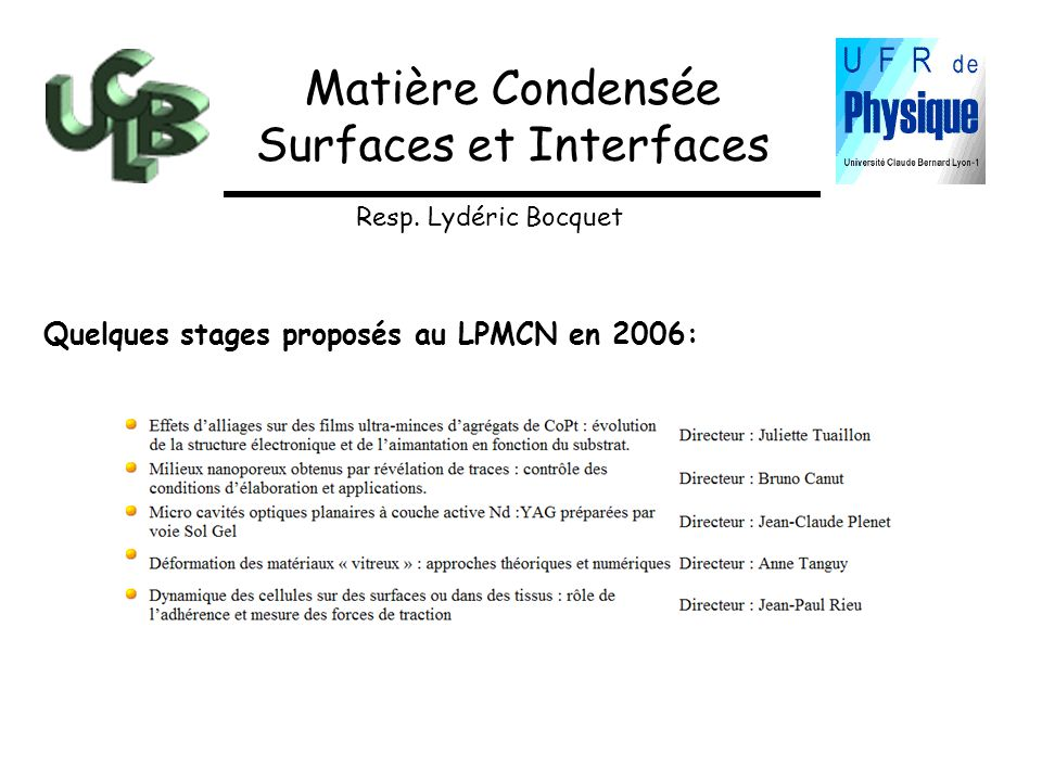 Surfaces et Interfaces