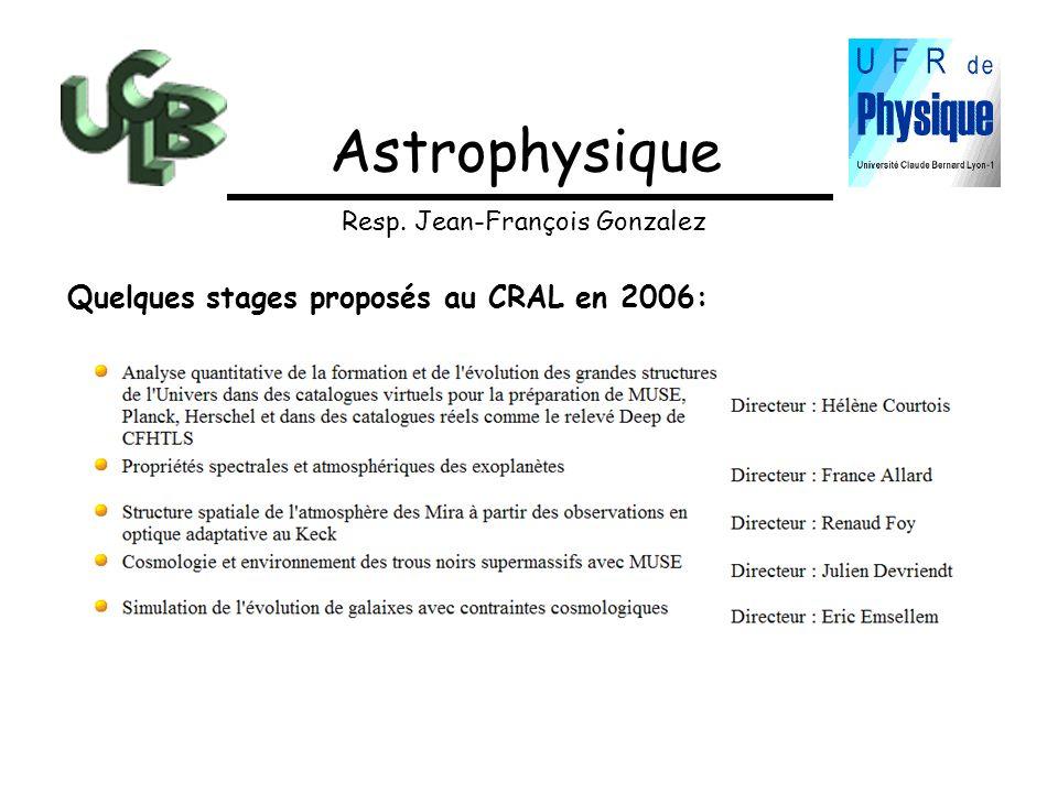 Astrophysique Quelques stages proposés au CRAL en 2006: